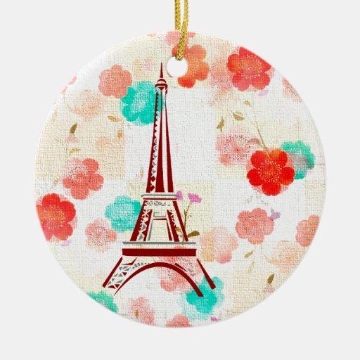 Vintage Paris - Eiffel Tower Christmas Ornaments
