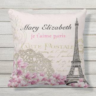 Vintage Paris Eiffel Tower Floral Lace Letter Outdoor Cushion