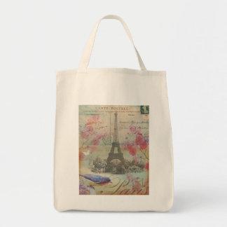 Vintage Paris Eiffel Tower Grocery Tote Bag