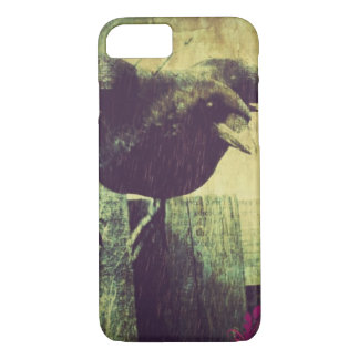Vintage Paris Eiffel tower halloween Black Raven iPhone 8/7 Case