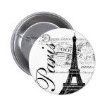 Vintage Paris & Eiffel Tower Label Buttons