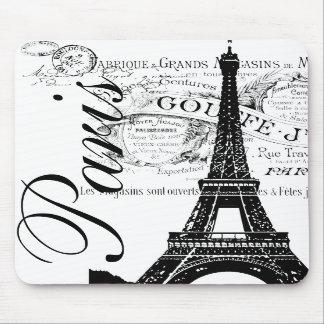 Vintage Paris Eiffel Tower Label Mousepad