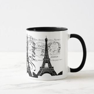 Vintage Paris & Eiffel Tower Label Mug