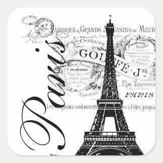 Vintage Paris Eiffel Tower Label Square Stickers