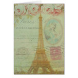 Vintage Paris Eiffel Tower Roses French Thank You Note Card