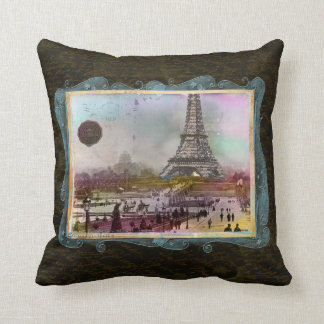 Vintage Paris Eiffel Tower Scene Custom Pillow