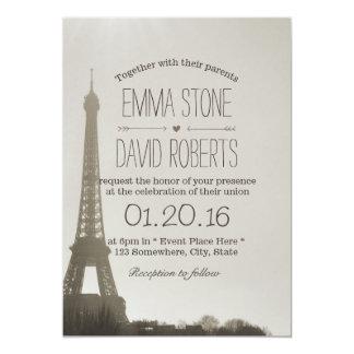 Vintage Paris Eiffel Tower Wedding Card