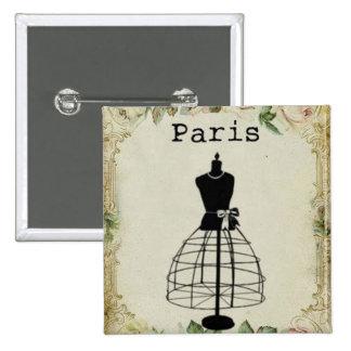 Vintage Paris Fashion Dress Form 15 Cm Square Badge