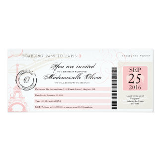 Vintage Paris France Birthday Party Boarding Pass 10 Cm X 24 Cm Invitation Card