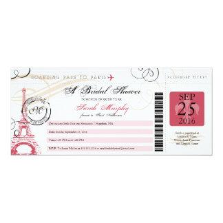 Vintage Paris France Bridal Shower Boarding Pass 10 Cm X 24 Cm Invitation Card