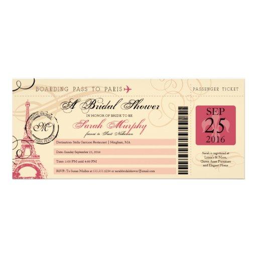 Vintage Paris France Bridal Shower Boarding Pass Invitation