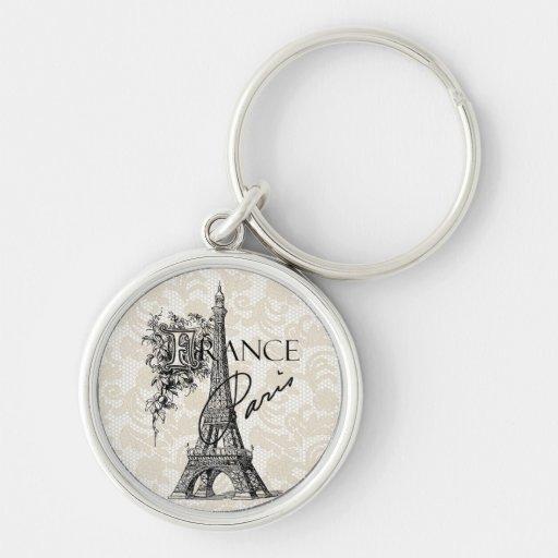 Vintage Paris France Eiffel Tower keychain