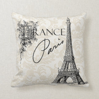 Vintage Paris France Eiffel Tower pillow