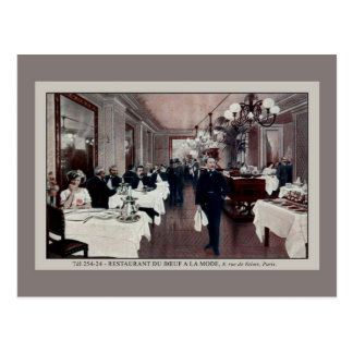 Vintage Paris France restaurant interior Postcard