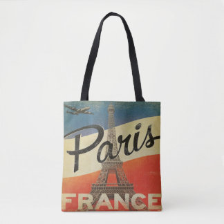 Vintage Paris France Tote airplane Eiffel tower