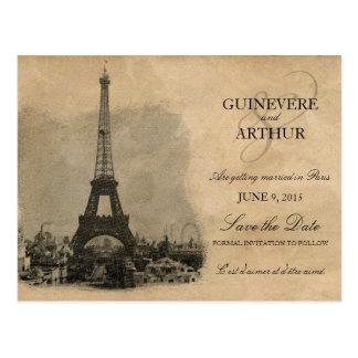 Vintage Paris France Wedding Save the Date Postcard