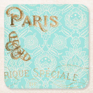 Vintage Paris Gold Design Square Paper Coaster