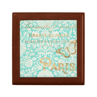 Vintage Paris Gold Design With Butterfly Gift Box