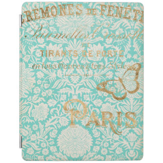 Vintage Paris Gold Design With Butterfly iPad Cover