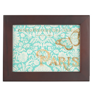 Vintage Paris Gold Design With Butterfly Keepsake Box