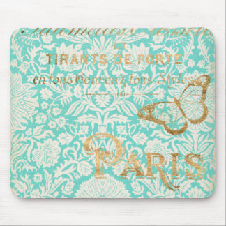 Vintage Paris Gold Design With Butterfly Mouse Pad
