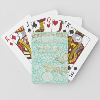 Vintage Paris Gold Design With Butterfly Playing Cards