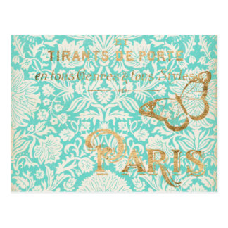 Vintage Paris Gold Design With Butterfly Postcard
