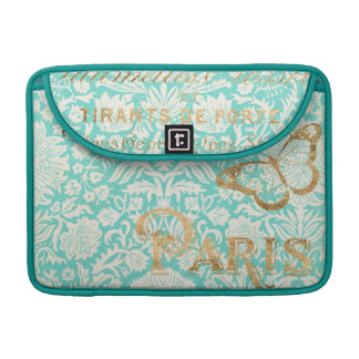 Vintage Paris Gold Design With Butterfly Sleeve For MacBook Pro