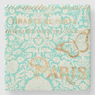 Vintage Paris Gold Design With Butterfly Stone Coaster