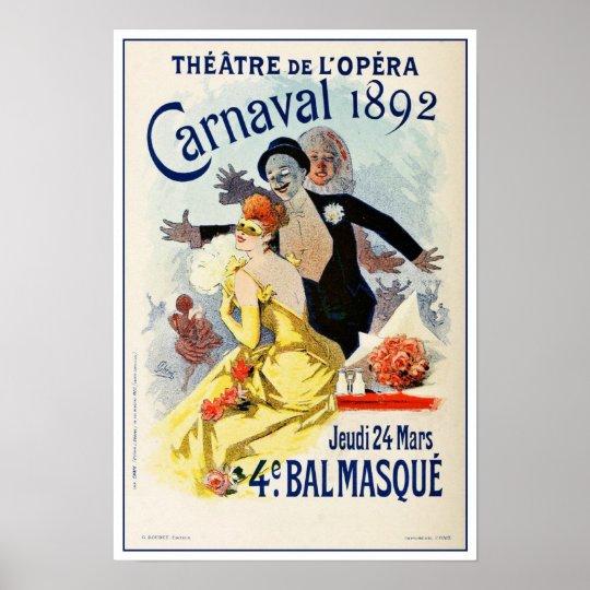 Vintage Paris Opera Theatre Carnival 1892 Poster