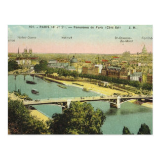 Vintage Paris, Panorama over the River Seine Postcard