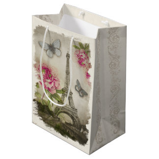 Vintage Paris Peonies French Collage Gift Bag