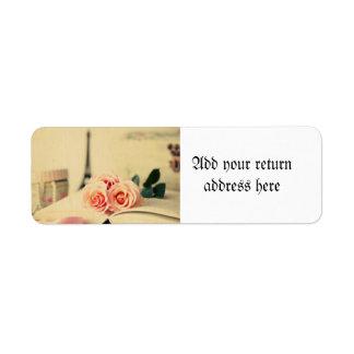 Vintage,paris,pink roses,eiffeltower,romantic,chic return address label