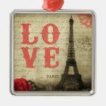 Vintage Paris   Pink Silver-Colored Square Decoration