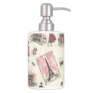 Vintage Paris Pink Soap Dispenser And Toothbrush Holder