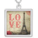 Vintage Paris | Pink Square Pendant Necklace