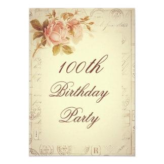 Vintage Paris Postmarks Chic Roses 100th Birthday 13 Cm X 18 Cm Invitation Card