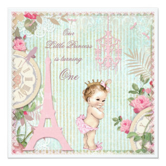 Vintage Paris Princess Shabby Chic 1st Birthday 13 Cm X 13 Cm Square Invitation Card
