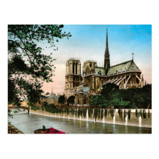 Vintage Paris, River Seine and Ile de Notre Dame Postcard