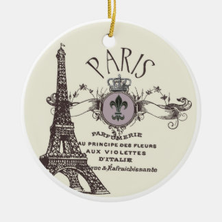 Vintage Paris Romance...ornament Round Ceramic Decoration
