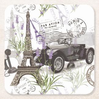 Vintage Paris Square Paper Coaster
