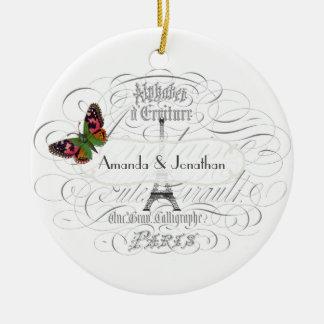 Vintage Paris Themed Wedding Customizable Ceramic Ornament