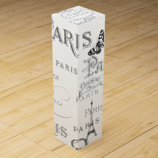 Vintage Paris Themed White Wedding Personalized Wine Gift Box
