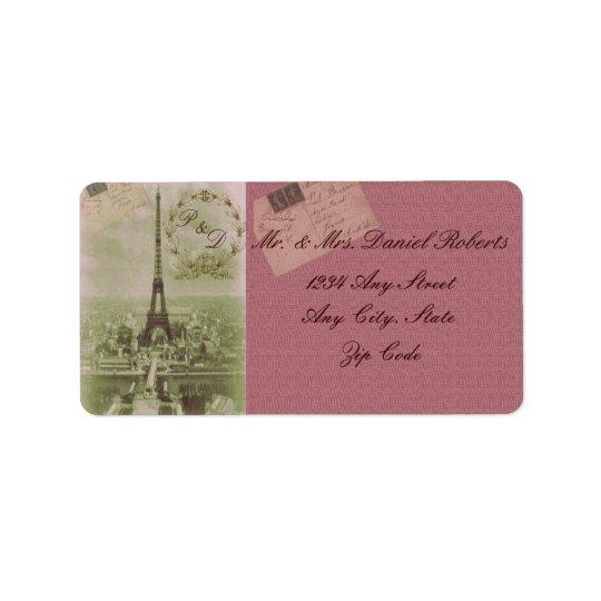 Vintage Paris Wedding Address Label