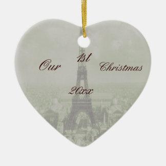 Vintage Paris Wedding Double-Sided Heart Ceramic Christmas Ornament