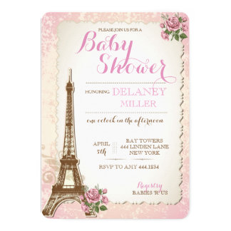 Vintage Parisian Baby Shower Girl Invitations