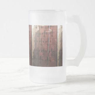 Vintage parisian inspired rustic Fleur de lis Frosted Glass Beer Mug