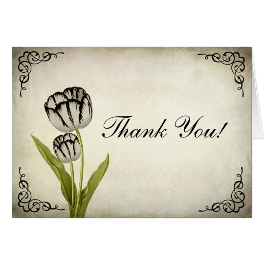 Vintage Parrot Tulip Thank You Card