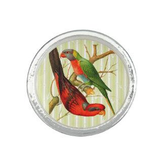 'Vintage Parrots V2' Silver Ring