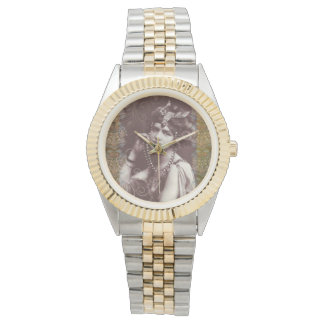 Vintage Party Girl on Victorian Tapestry Bracelet Wrist Watch